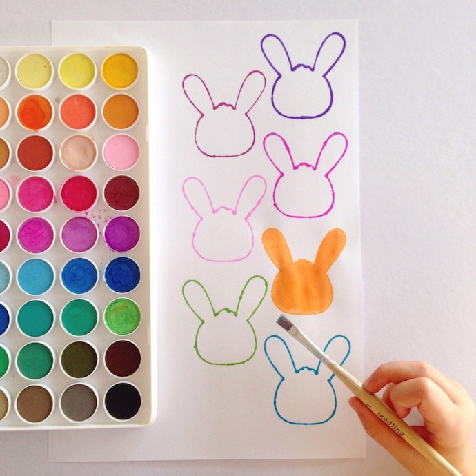 Easter Bunny colour Match - Easter craft activity mypoppet.com.au