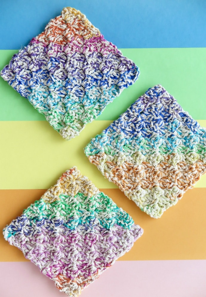 rainbow washcloth crochet pattern mypoppet.com.au