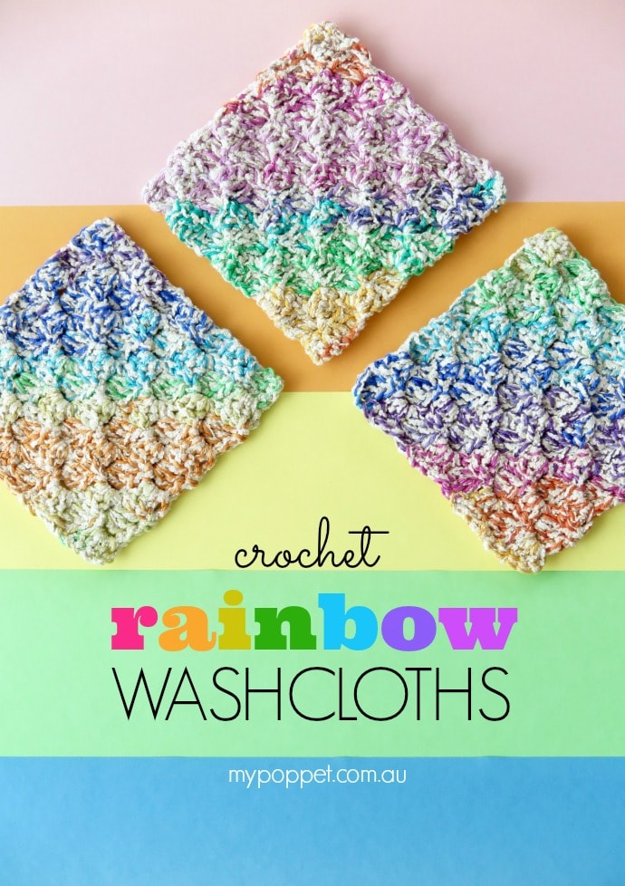 Crochet Rainbow Washcloths