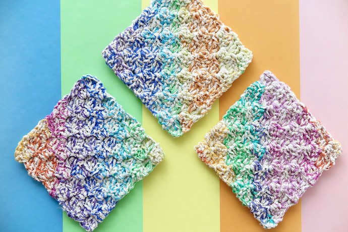 Crochet Rainbow Washcloth Pattern