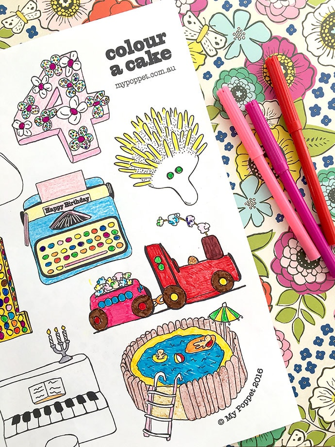 Children's Birthday Cake book coloring pages - Printable