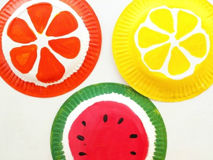 fruit painted paper plates & Fruity Paper Plate Envelopes | My Poppet Makes