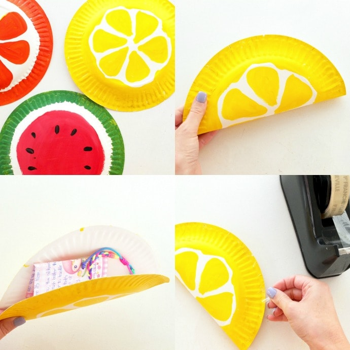 make a fruit envelope from paper plates