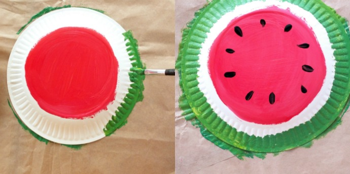 How to paint a watermelon plate