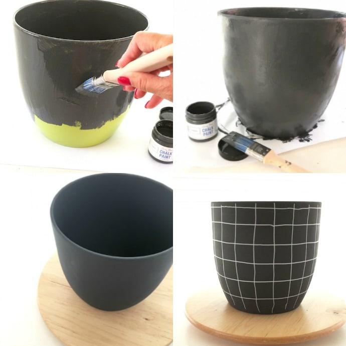 Midcentury plant pot makover steps