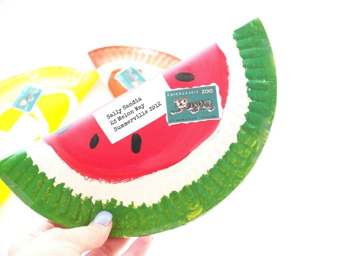 watermelon envelope DIY from a paper plate