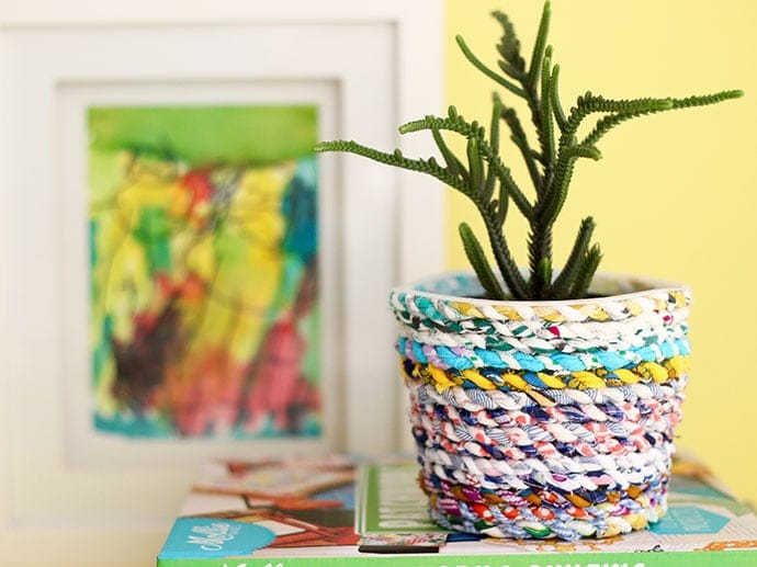 Upcycle style: fabric twine recyled planter from a yoghurt tub mypoppet.com.au