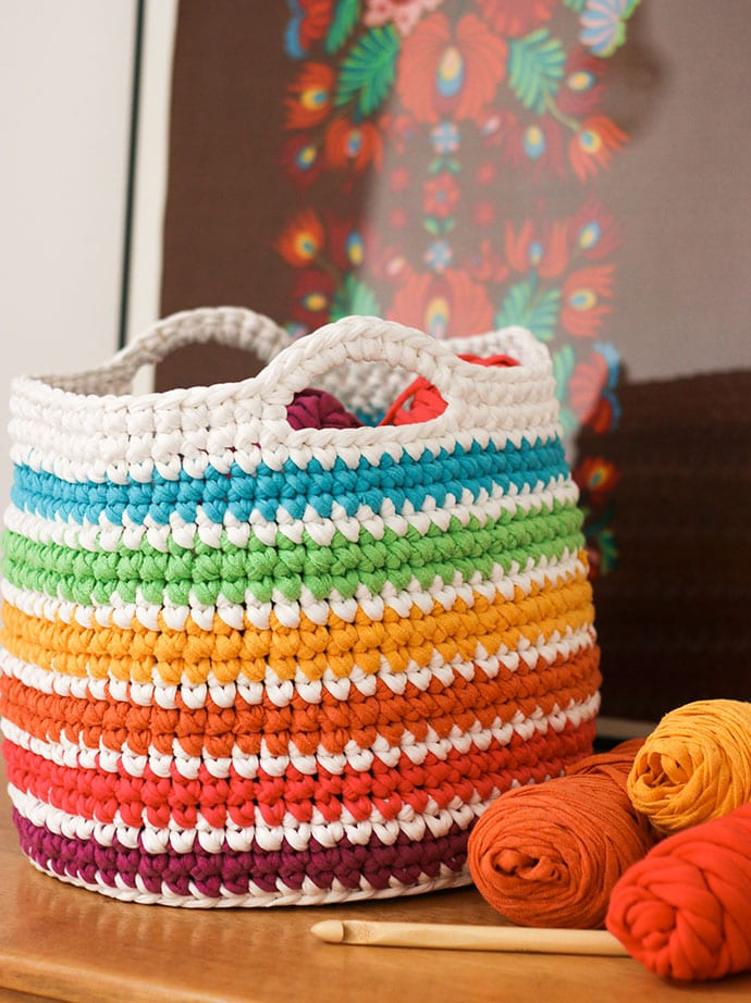 Crochet Pattern: Rainbow Storage Basket - My Poppet Makes