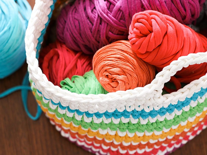 Crochet Pattern: Rainbow Storage Basket | My Poppet Makes