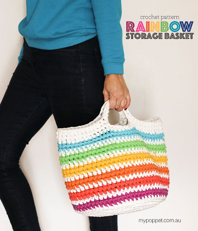 FREE Crochet pattern, rainbow storage basket tote bag mypoppet.com.au