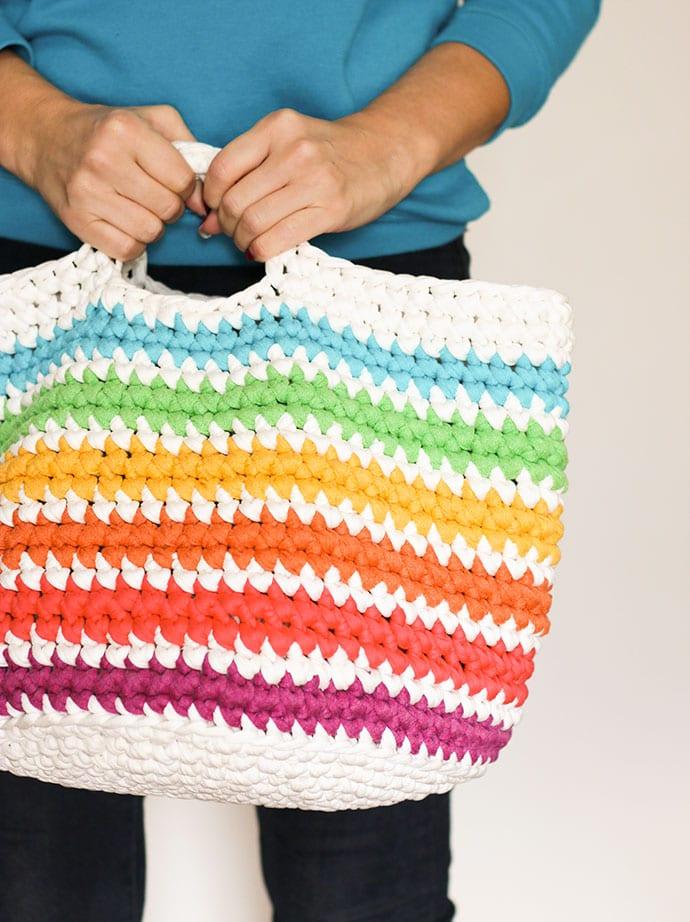 FREE Crochet pattern, rainbow storage basket mypoppet.com.au