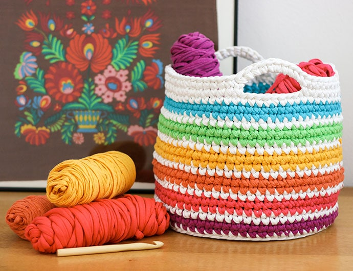 Crochet pattern rainbow storage basket my poppet makes free crochet pattern rainbow storage basket mypoppet reheart Choice Image