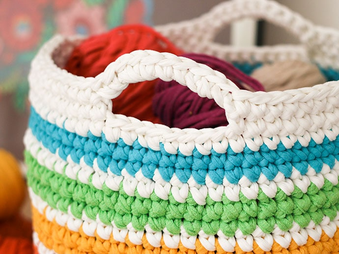 FREE Crochet pattern rainbow storage basket mypoppet.com.au & Crochet Pattern: Rainbow Storage Basket | My Poppet Makes
