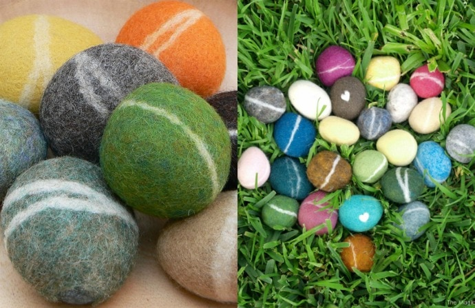 wool felted stones
