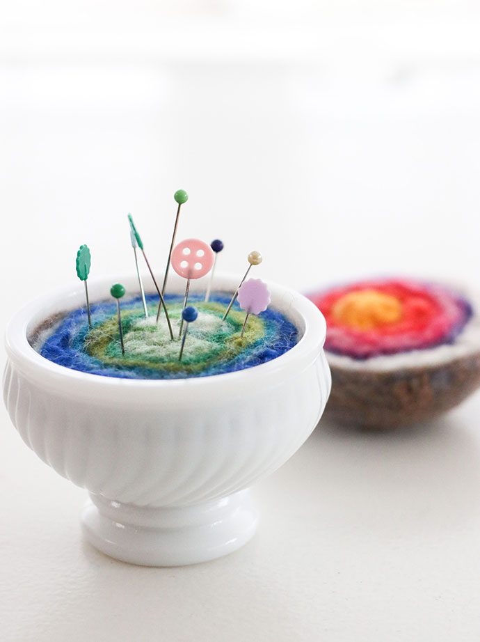 wet felted pincushion