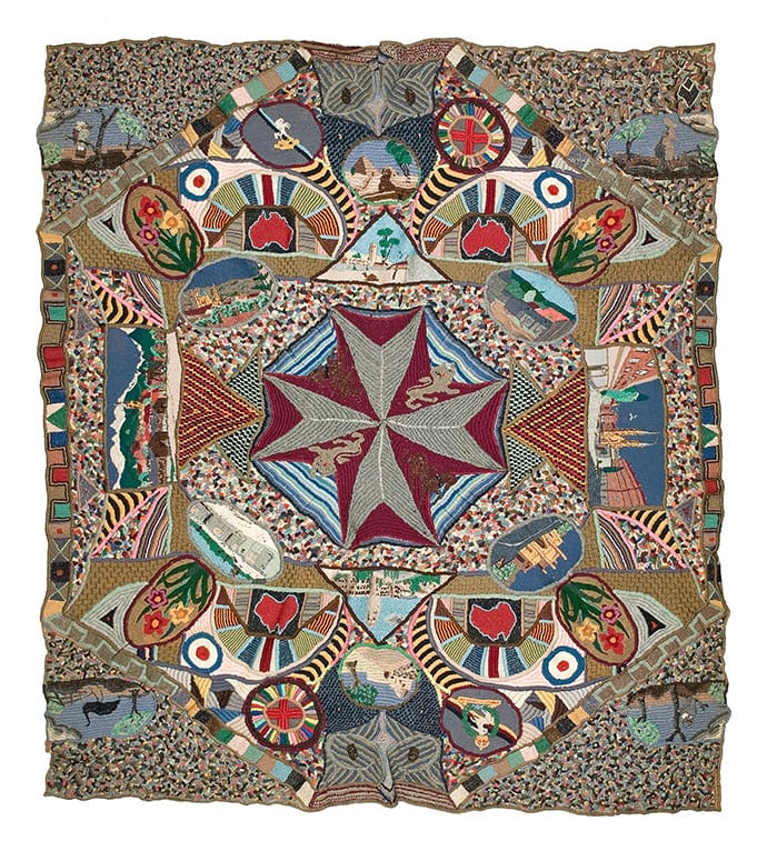 Corporal Clifford Gatenby Australia 1915–92 Embroidered blanket 1941–45 cotton, wool Australian War Memorial, Canberra Donated, 2004, Image supplied NGV