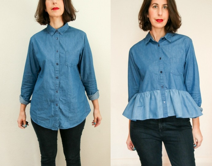 denim shirt refashion before and after