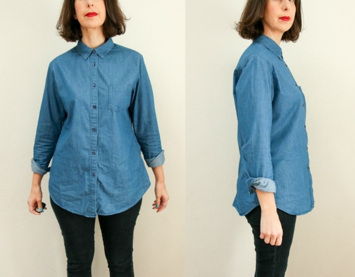 denim shirt before refashion