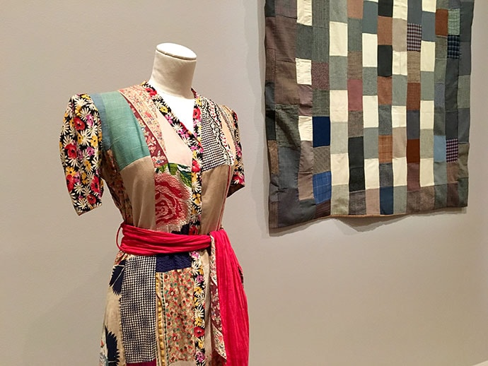 Zumma Carraro born Italy 1915, arrived Australia 1926, died 2012 Patchwork dressing gown c. 1935 wool, cotton Collection of Dr Annette Gero, Sydney