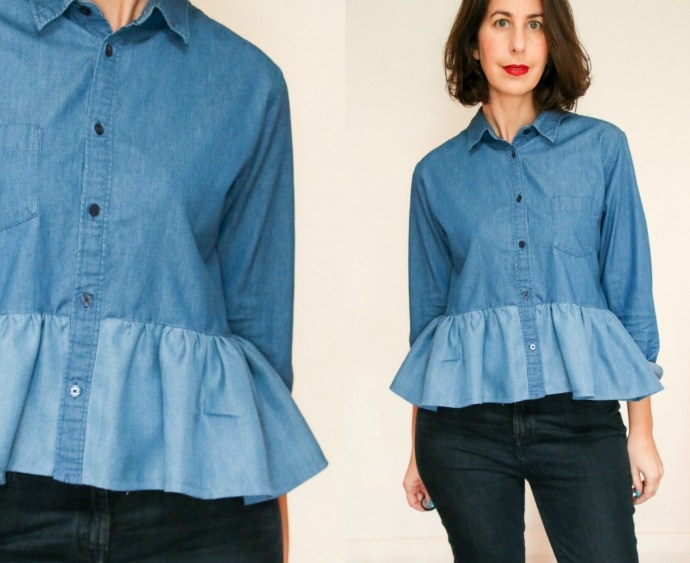 clothing refashion - how to make a ruffle shirt
