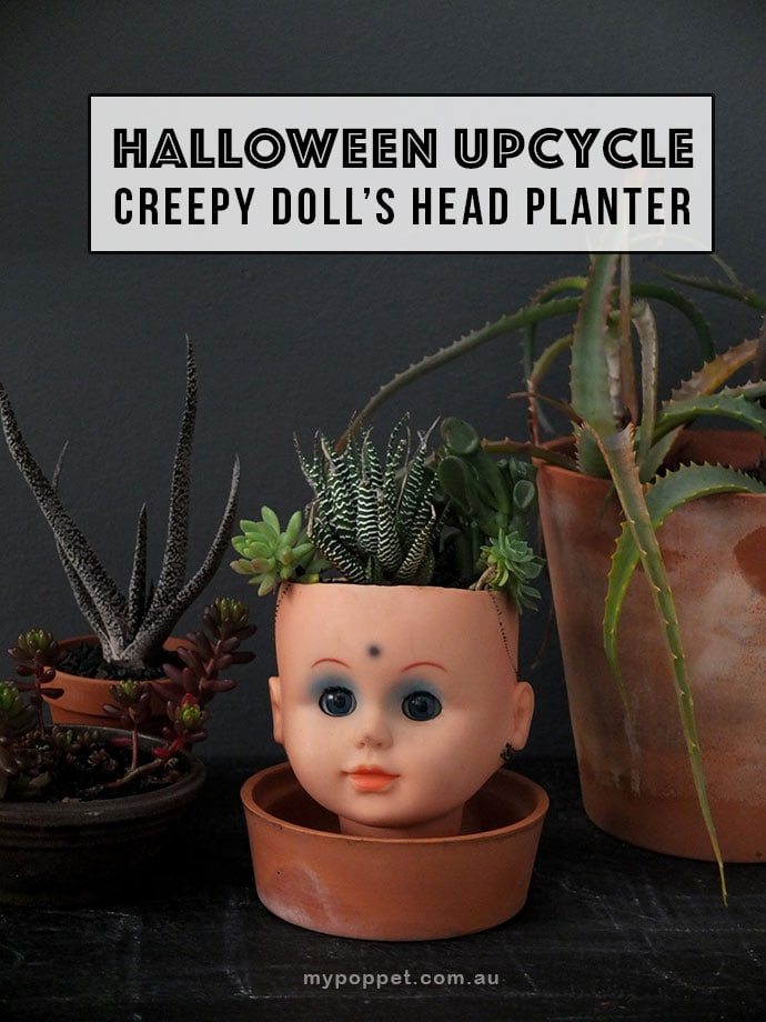 creepy doll head planter DIY for halloween mypoppet.com.au