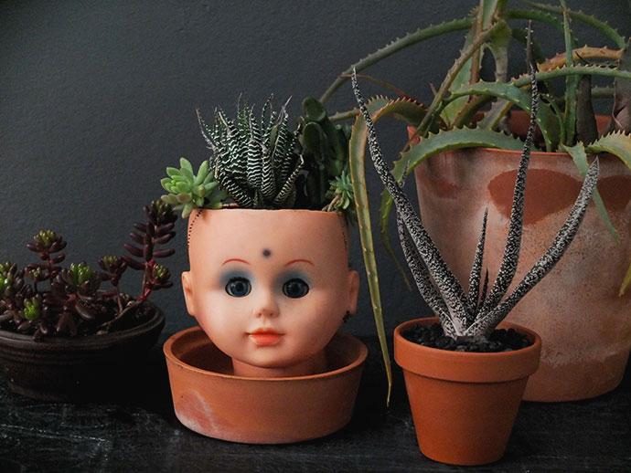creepy doll head planter DIY for halloween mypoppet.com.au