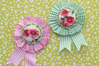 Ribbon Rosette vintage style brooch - spring accessory mypoppet.com.au