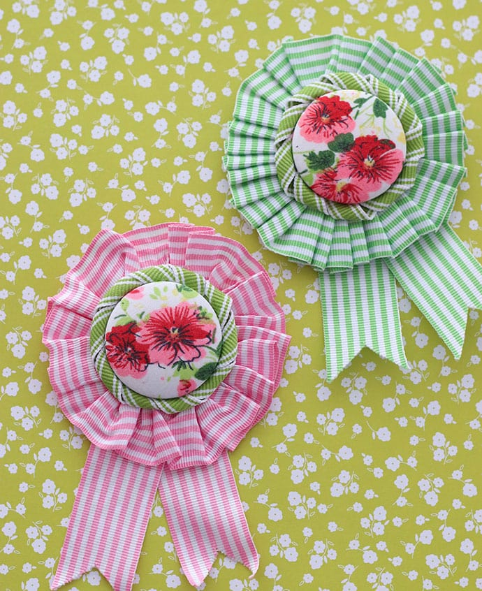 How to make a Ribbon Rosette vintage style brooch - spring accessory DIY mypoppet.com.au