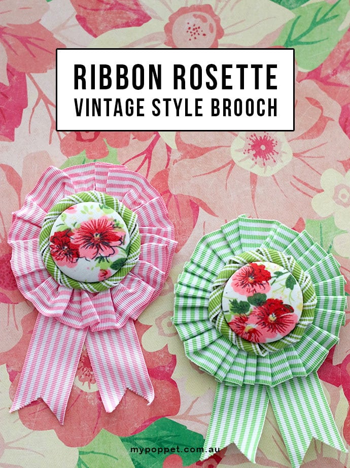 Ribbon Rosette vintage style brooch - spring accessory DIY mypoppet.com.au
