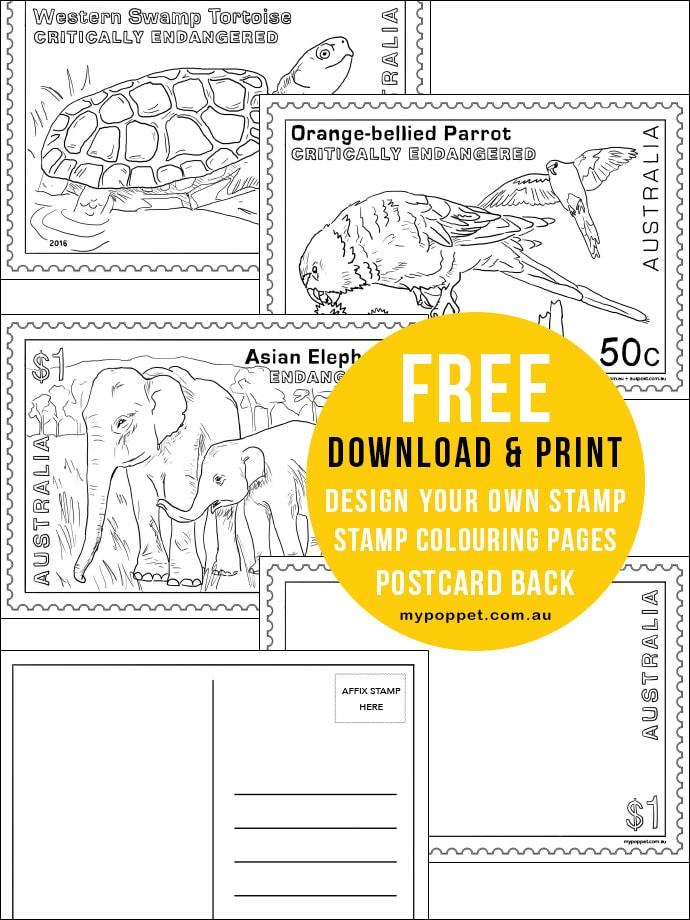 Free printable colouring pages - design your own stamp - postcard back free printable - educational resource mypoppet.com.au Endangered Wildlife project