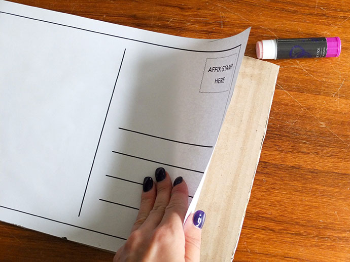 Free postcard back printable - Stamp Collecting Month - Make a giant stamp postcard mypoppet.com.au