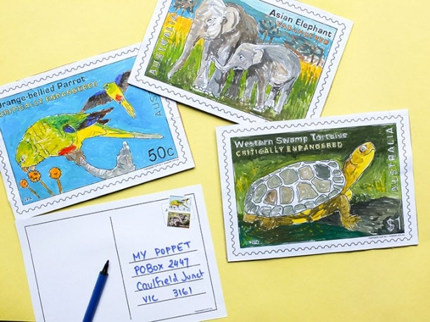 Stamp Collecting Month - Make a giant stamp postcard mypoppet.com.au