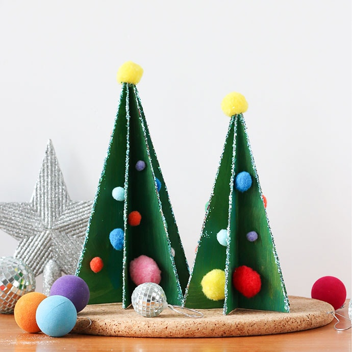 Cereal box christmas trees - Kids craft - Recycle craft - mypoppet.com.au
