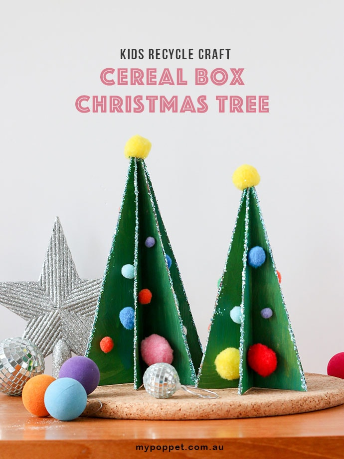 Kids Recycle Craft: Cereal Box Christmas Tree Decoration with printable template mypoppet.com.au