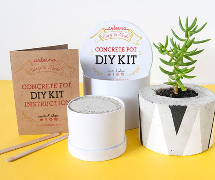 Concrete planter DIY craft kit