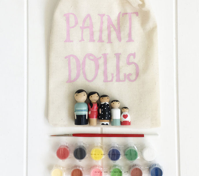 wooden doll painting craft kit