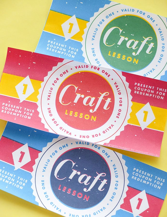 printable craft lesson coupons - gift certificates