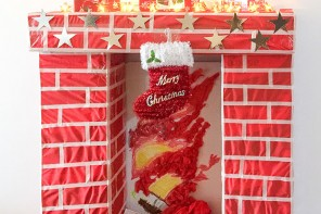 How to make a fake fireplace for Christmas - mypoppet.com.au