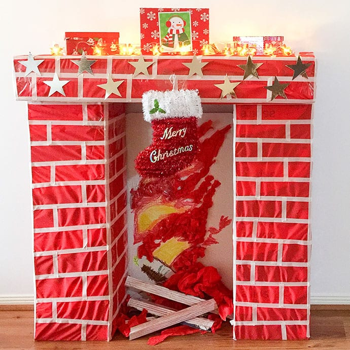 How to Build a faux Christmas Fireplace from cardboard boxes