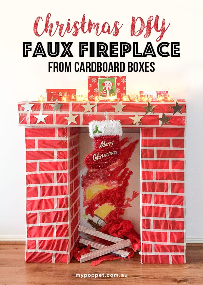 How to build a fake christmas fireplace from cardboard boxes - mypoppet.com.au