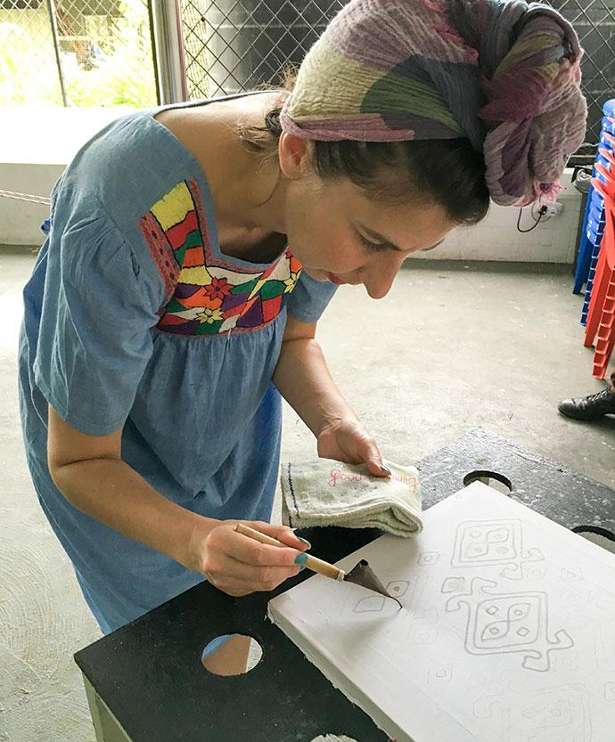 painting a batik design - craft workshop sabah malaysia mypoppet.com.au