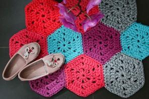 How to crochet - T-shirt yarn hexagon rug pattern