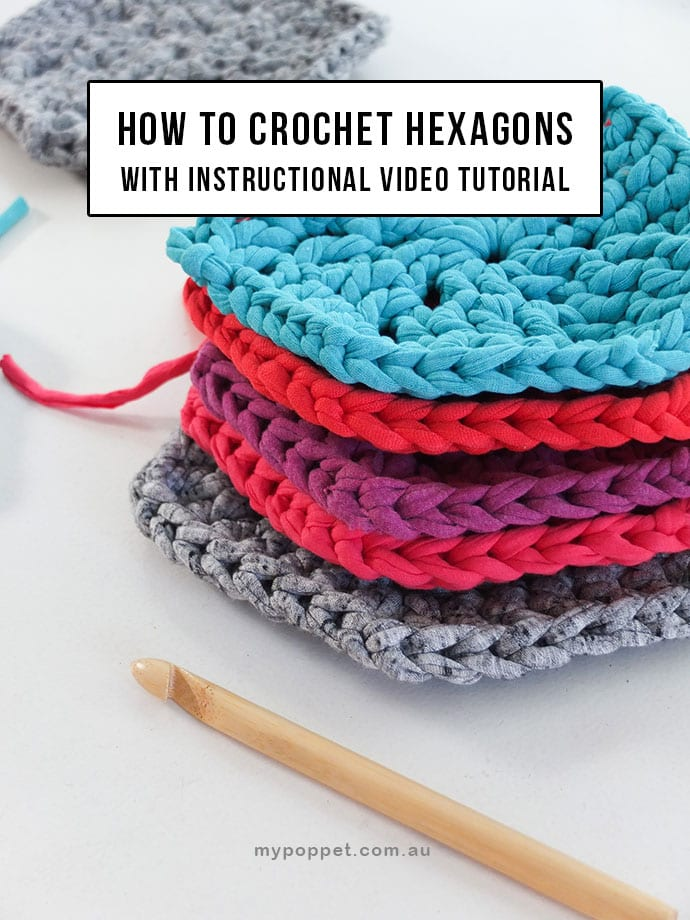 How to crochet hexagon shapes + Make a t-shirt yarn rug (with video) - MyPoppet.com.au