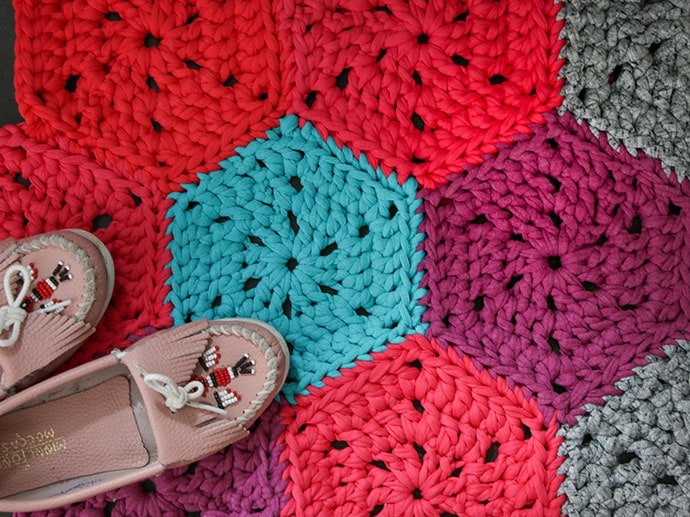 How To Crochet Chunky Hexie Crochet Rug Pattern My Poppet Makes
