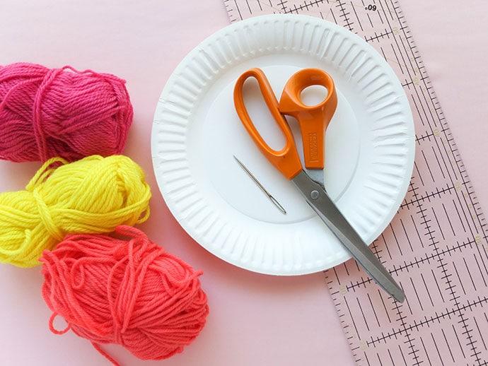 Diy paperplate tapestry loom supplies