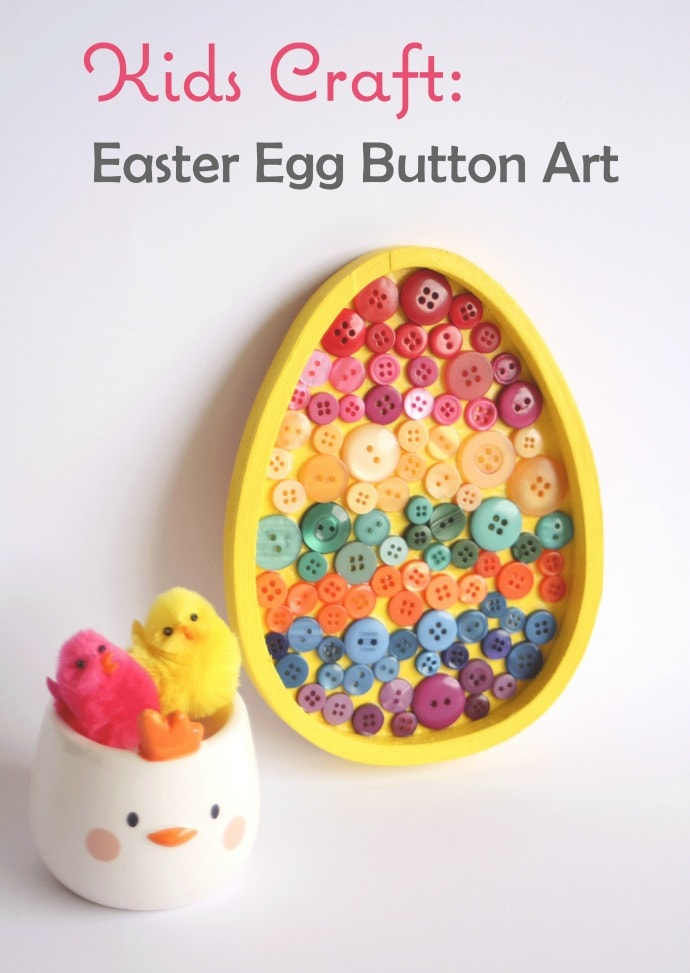 Easter Egg Button Art - Easter Kids Craft mypoppet.com.au