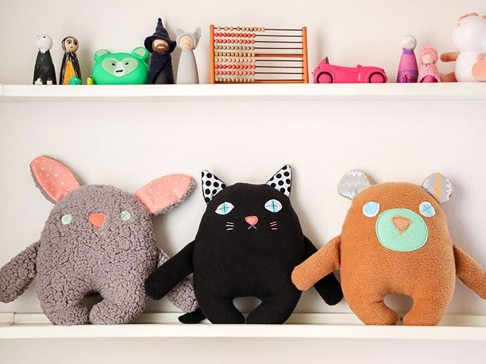 How to make a soft toy - free softie paattern - bear, cat & bunny - mypoppet.com.au