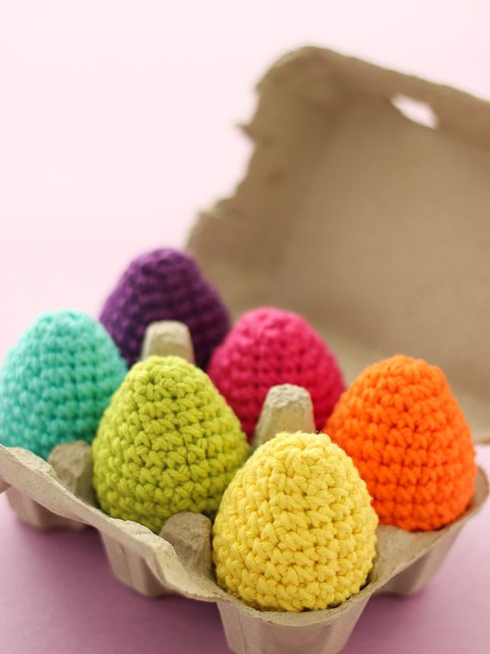 Rainbow crocheted easter eggs in carton - mypoppet.com.au