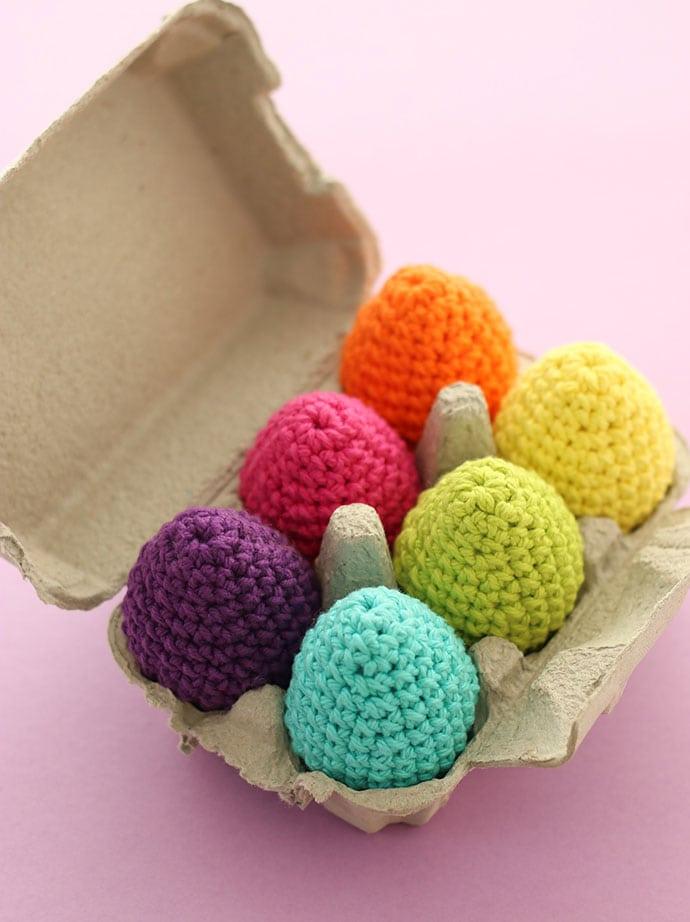 Rainbow crochet easter eggs