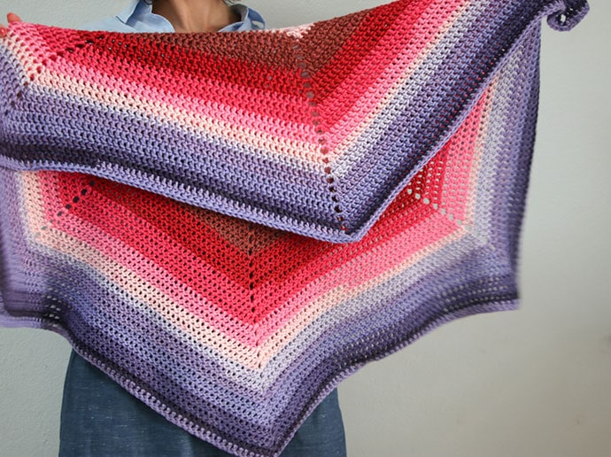 Caron Cake Ombre hexagon blanket crochet pattern - mypoppet.com.au